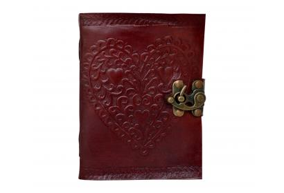 Embossed Heart Love Leather Journal Blank Dairy Note Book Handmade Paper 120 Pages